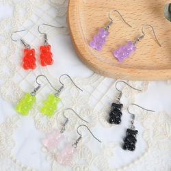 3pair Cute Cartoon Animal Bear Dangle Earrings Acrylic Colorful Candy Color Women Girls Drop Earrings Set 2020 Trend Funny Party