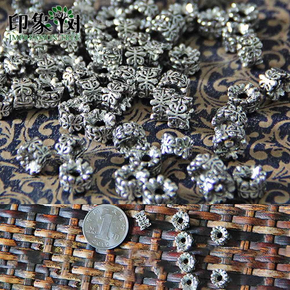 1Pcs 5*7MM Silver Tone Metal Beads Barrel Shape Loose Spacer Beads For Jewelry Making Bracelet Accessories Handmade 801