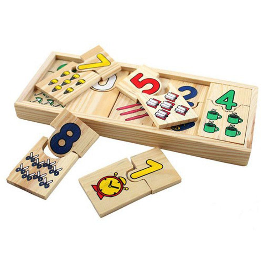 Kuulee Wooden Children Intellectual Number Matching Plate Learnning Toy Wooden Children's Educational Number Pairing