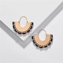 Fan Shape Weave Fringed Crystal Stone Beads Hoop Earrings Colorful Threads Wrap U Hoop Earrings Fashion Jewelry(China)