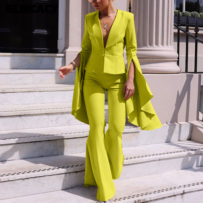 Women 2 Piece Matching Outfit Set Flare Sleeve Plunge V-neck Top & High Waist Bodycon Wide Leg Pant Sets Chic Office Lady Suit