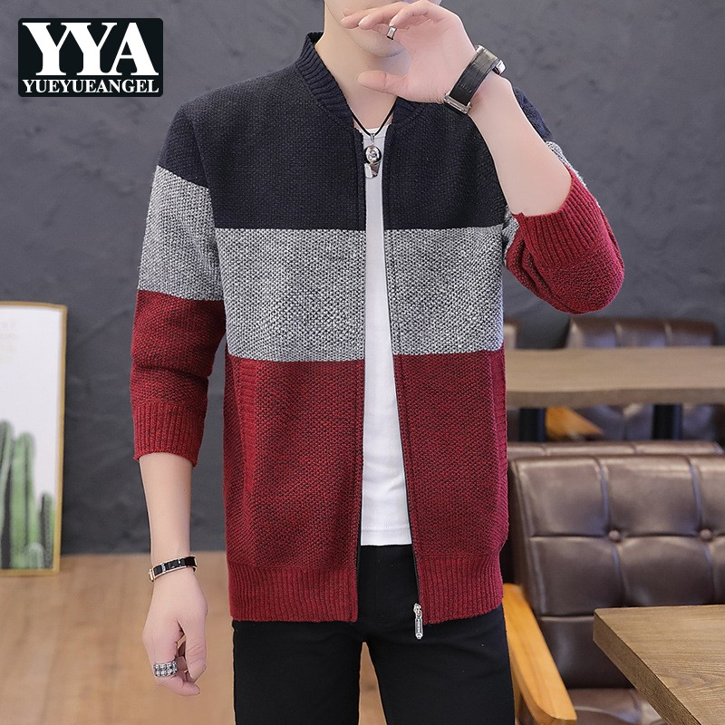 Fashion Mens Slim Fit Sweater Jacket Striped Colors Mixed Cardigan Casual Knitwear Outwear Coat Autumn Man Sweaters Cardigans