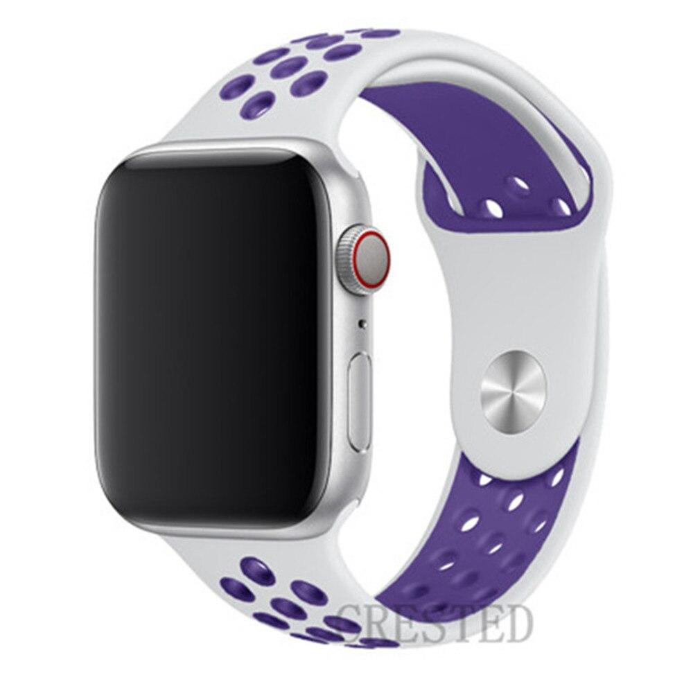Спортивный ремешок для apple watch band 44 мм/40 мм apple watch 5 4 3 band iwatch band 5 42 мм/38 мм correa браслет ремень аксессуары для часов - Цвет ремешка: White light purple