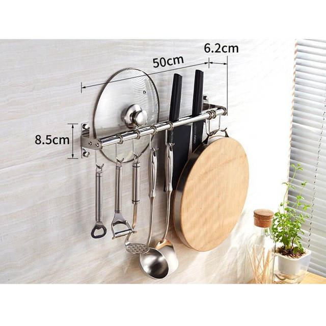 50cm Double/Single Poles 304 Stainless Steel Kitchen Hanging Rack Pot Pan  Spoon Tools Hanger Holder With 8 Hooks Storage Rack