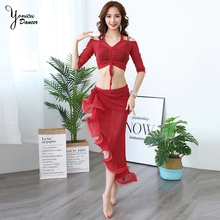 202 Summer New Brand Belly Dnace Practice Clothes Set Sexy Adult Female Dance Costume Set Suit Long Spilt Wave Skirt Off Should