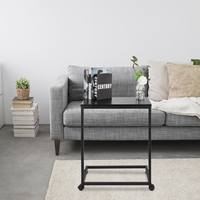 Laptop Tablet Sofa Couch Side Table with 4 Wheels Wood Look Accent Furniture with Metal Frame