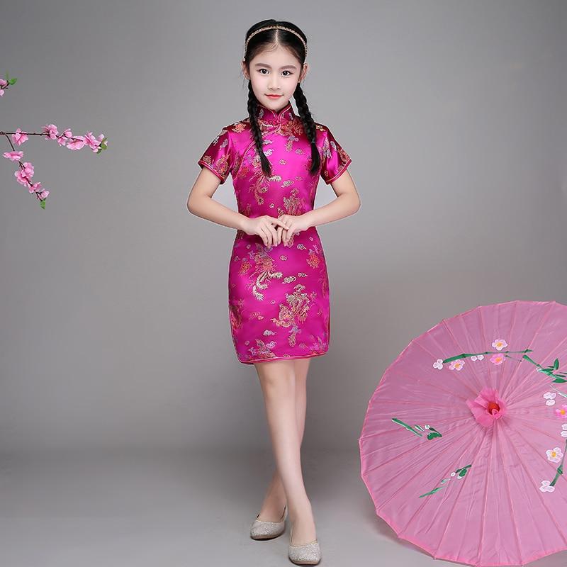 Qipao Girl Dress Chi-Pao Cheongsam New Year Gift Children Clothes Kids Dresses Girls Clothing Wedding Princess Dress