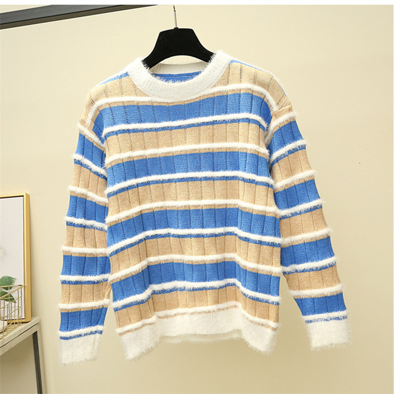 Fashion Stripe Casual Warm Loose O-Neck Knitted Sweater Pullover Autumn Knitwear Sueter Mujer Long Sleeve Women New 2019 Woman