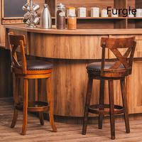 Furgle Vintage Swivel Bar Stool 24'' 29 Height Dining Pub Chair Upholstered Seat Wooden Bar Stool Chair Western Bar Furniture