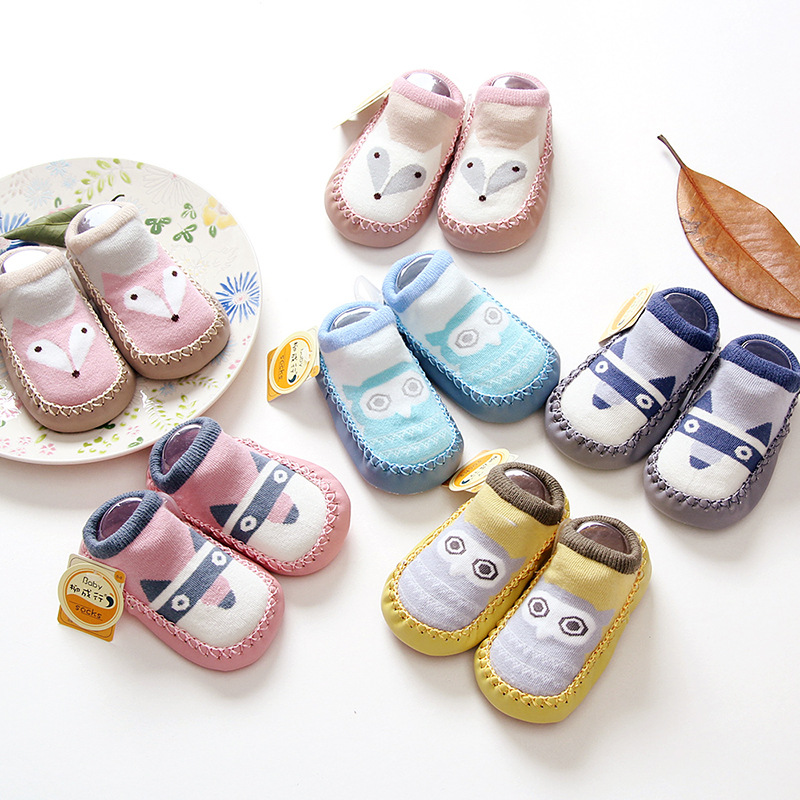 Autumn New Style Babies' Toddler Shoes Socks Soft-Sole Anti-slip Baby Socks Cartoon Children Floor Socks Pi Di Wa