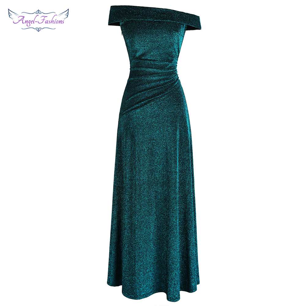 Angel-fashions Off Shoulder Pleated   Evening     Dresses   Long Party Gown Peacock green 466