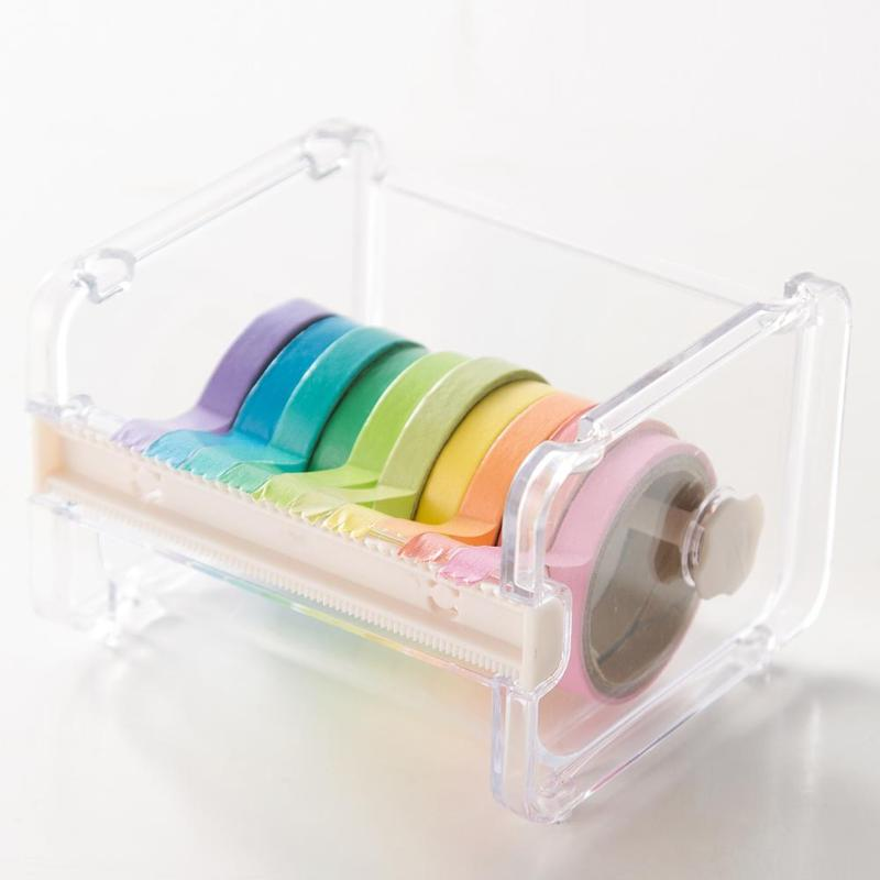 Portable Transparent Adhesive Tape Dispenser Cutter Desk Washi Tape Holder Storage Box Organizer Office School Stationery Supply