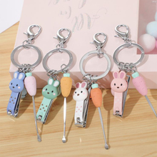 Nail Clipper Mini Cute Bear Rabbit Nail Clipper Cartoon Finger Trimmer Scissors Nail Cutter with Keychain stainless steel multifunctional plier finger nail clipper keychain bottle opener finger folding scissors