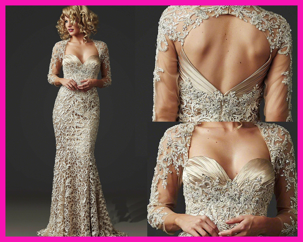 Hot Sexy Backless 2015 Gorgeous Beaded Lace Mermaid Mother Of The Bride Dresses Party Gowns With Weddings Three Quarter Sleeves