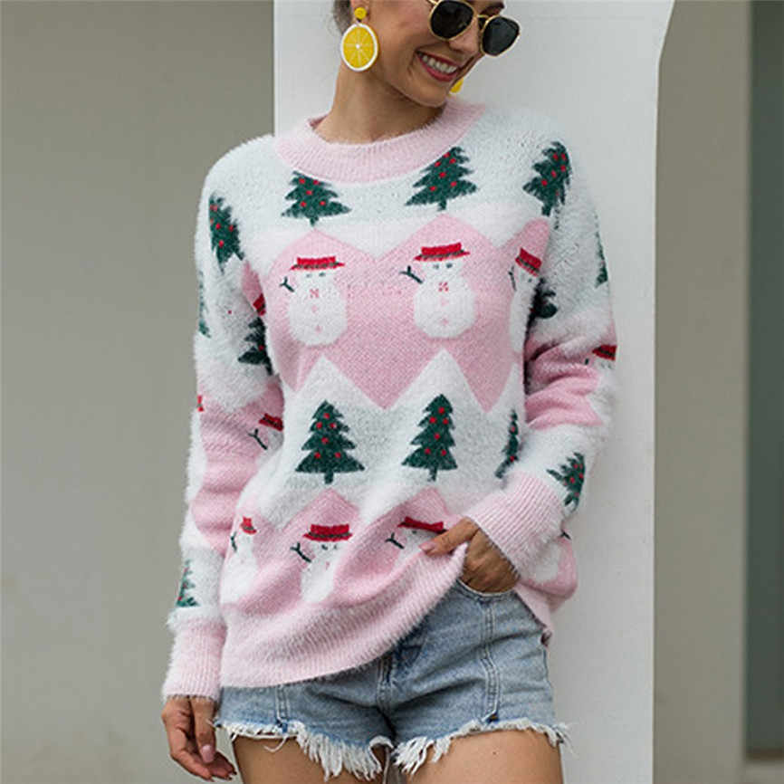 New Women Christmas Sweater Long Sleeve O-Neck Christmas Tree Knitting Sweater Tops Cute Ladies Casual Holiday Pull Plus Size