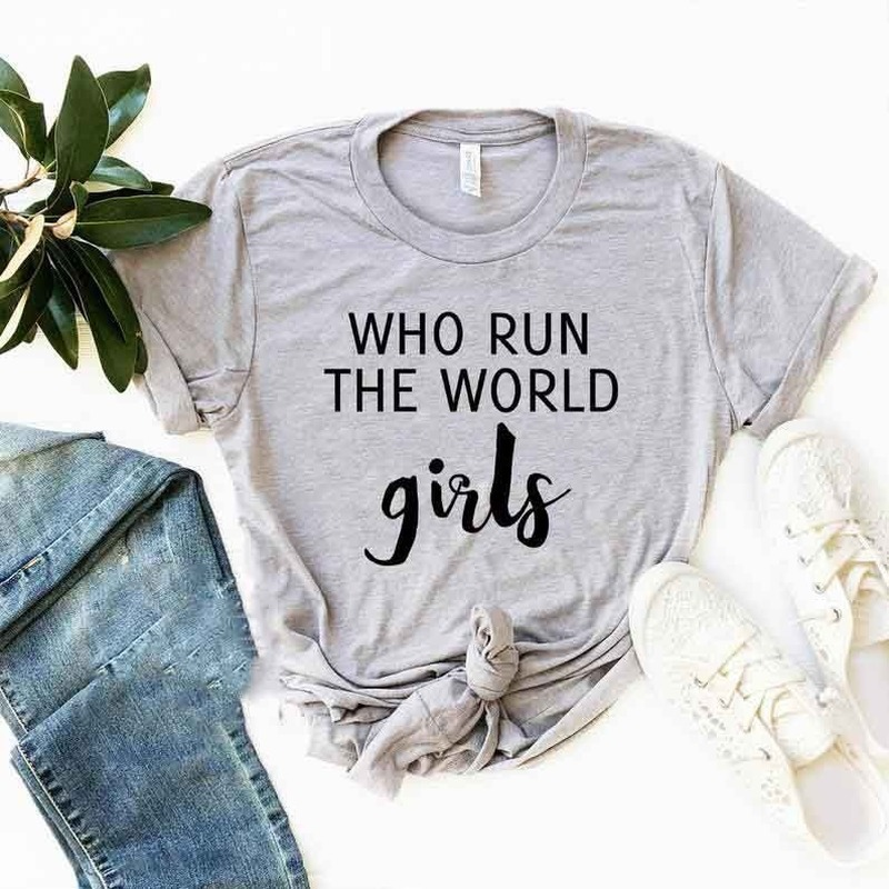 Who Run The World Girls Letter Print T Shirt Women Short Sleeve O Neck Loose Tshirt 2020 Summer Fashion Women Tee Shirt Tops