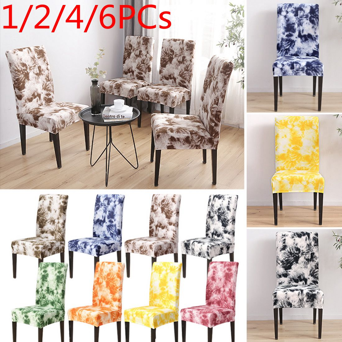 1 2 4 Pcs Nordic Style Print Chair Covers Home Dining Floral Spandex Chair Cover Slipcovers Home Garden Pumpenscout De