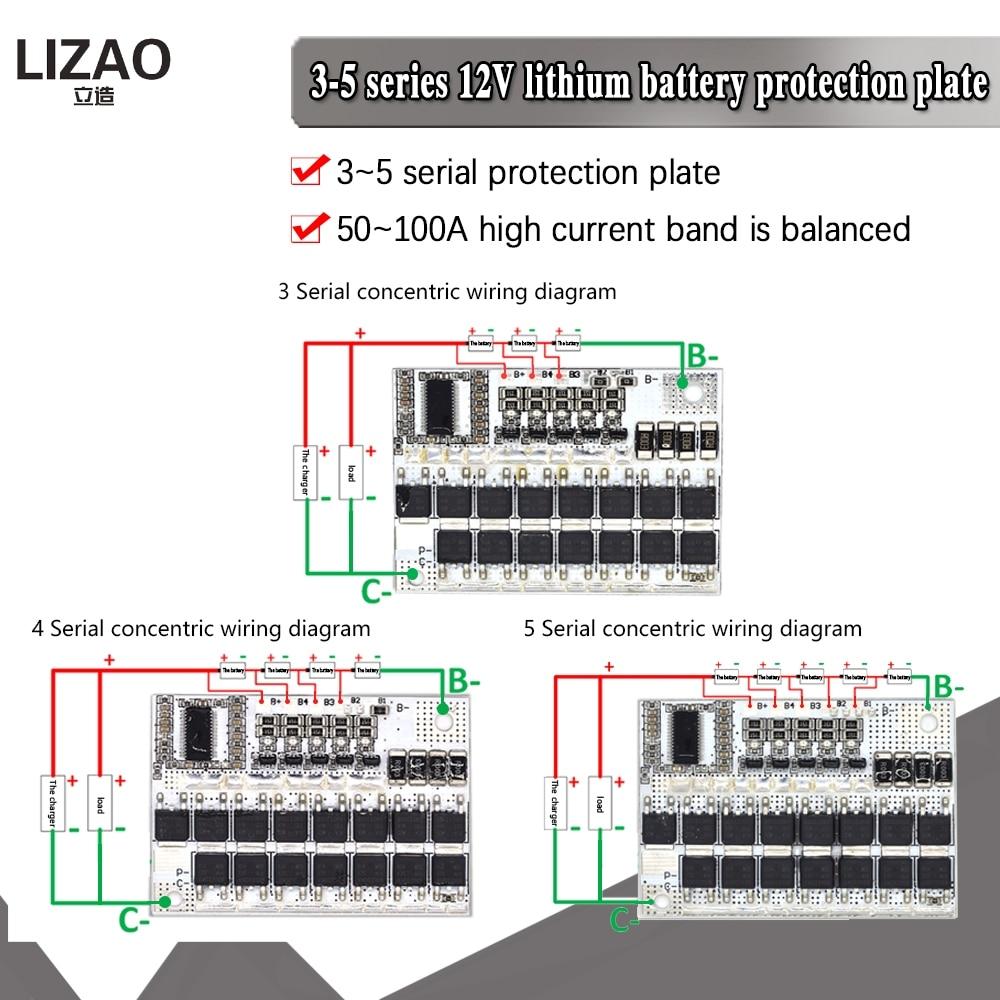 3S 4S 5S Bms 12v 16,8 V 21V 3,7 V 100A литий ионный ЖИО трехкомпонентная литиевая Батарея защиты печатной платы литий полимерная батарея для зарядки Интегральные схемы      АлиЭкспресс
