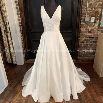 Custom Made Satin Wedding Dresses 2020 A Line V Neck White Ivory Lace Up Back Bridal Gowns Vestido De Noiva Chapel Train - discount item  32% OFF Wedding Dresses
