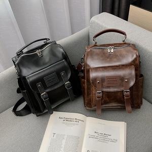 Image 5 - Femmes en cuir PU sac à dos femme mode sac à dos marque concepteur Vintage sac à bandoulière Mochila Escola sac décole sac à dos Mochila