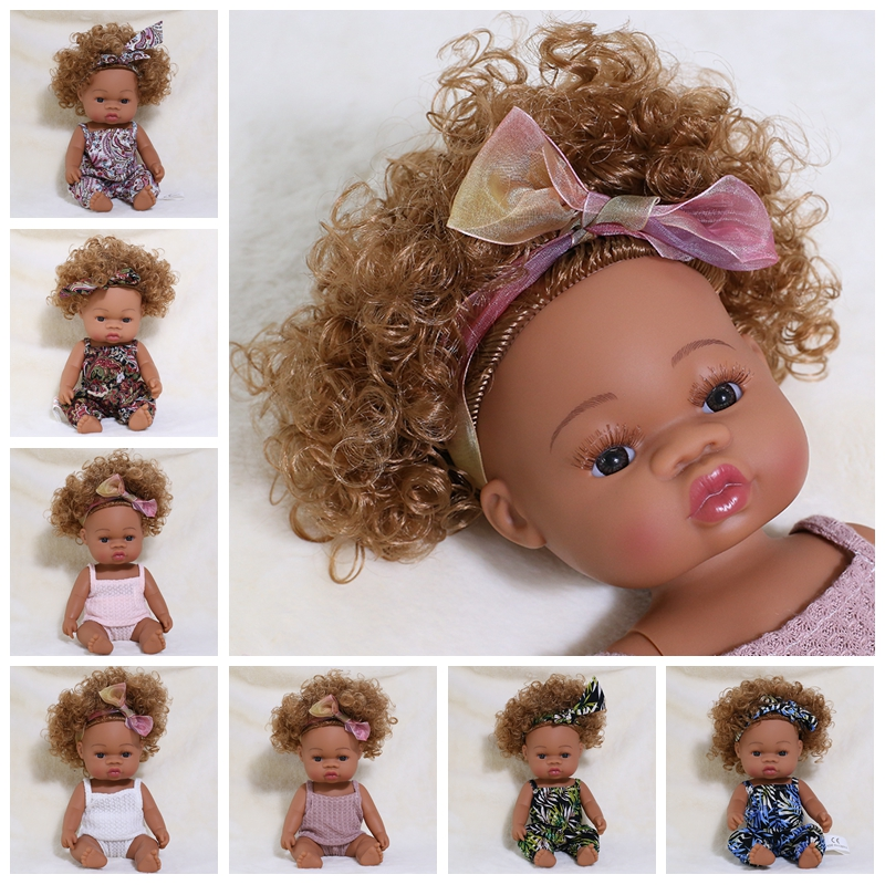 Reborn boneca preta 35cm de corpo inteiro silicone vinil brinquedos do bebê para meninas meninos macio lifelike brinquedo da boneca do bebê recém-nascido para o presente de natal