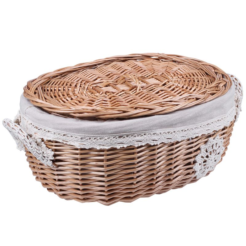 Wicker Rattan Storage Basket Large With Lid Snack Basket Home Living Room Decor Toy Debris Finishing Storage Tool Storage Basket Makeup Organizers     - title=