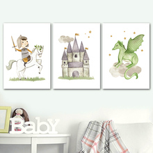 Castle Prince horse Dragon fairy tale Wall Art Canvas Painting Nordic Posters And Prints Pictures Baby Kids Room Decor