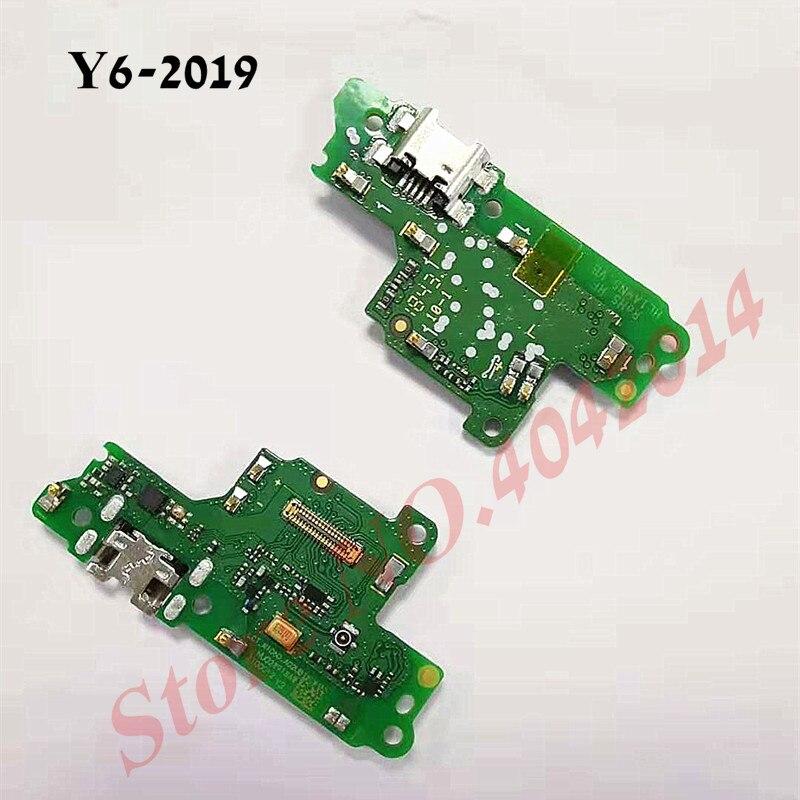 10 stks/partij Originele USB Charging Dock Port Flex kabel Voor Huawei Y6 2019 Charger plug met microfoon Borad Vervangende onderdelen