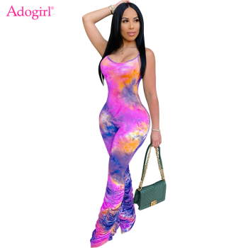 Adogirl Tie Dye Print Ruched Jumpsuit Women Sexy Spaghetti Straps Romper One Piece Pleated Pants Summer Casual Overalls