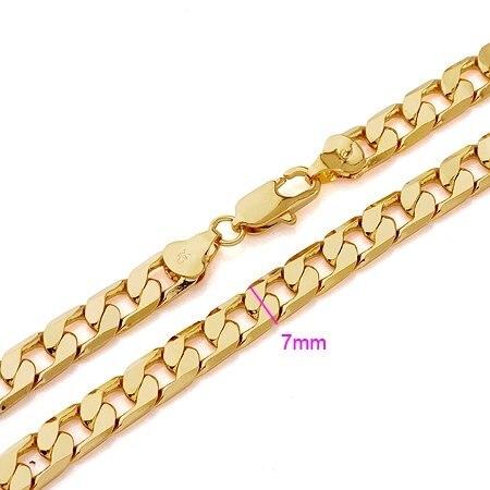 Мужское золотое ожерелье, цепочка, настоящая желтая Бриллиантовая цепь, 18 К, 24 дюйма, 60 см