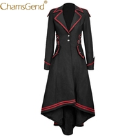 Free Shipping Women's Gothic Long Tail Coat Vintage Jacket Overcoat Vampire Seires Cosplay Costume for Halloween,Stage Play 9817