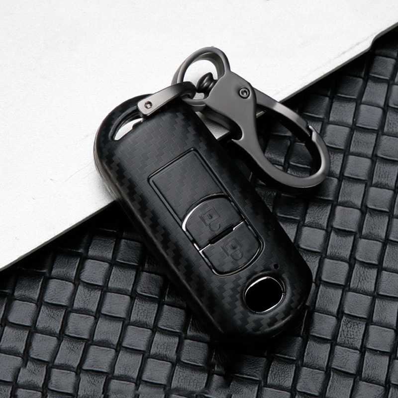 Car Glossy Carbon Fiber ABS car key case for <font><b>Mazda</b></font> CX-5/<font><b>CX5</b></font> Atenza 2 3 5 <font><b>mazda</b></font> 6 CX-3 CX-4 CX-7 CX-9 Atenza Axela <font><b>Accessories</b></font> image