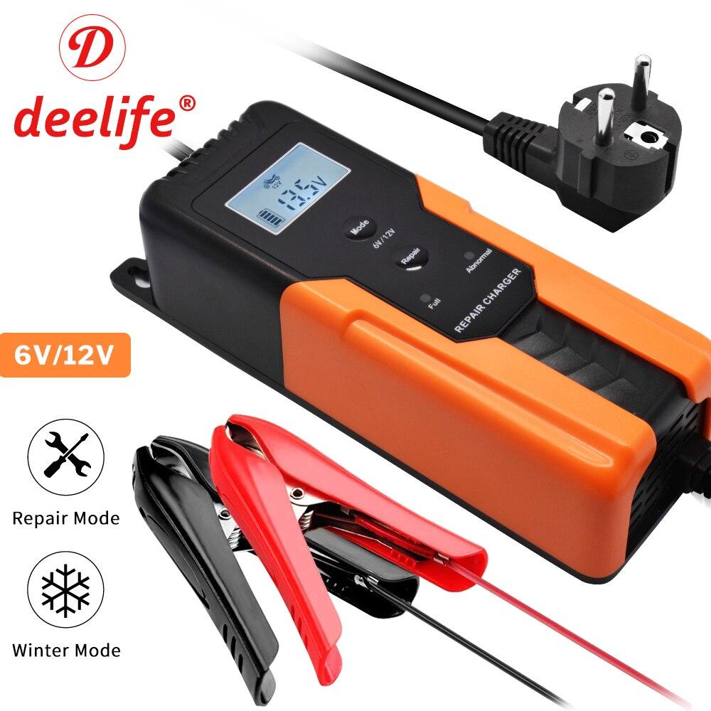 Deelife 6V 12V Car Battery Charger 12 V 6 Volt 4A Smart Pulse Repair Electric Trickle Charging for Wet Dry AGM GEL Lead Acid|Chargers| |  - title=