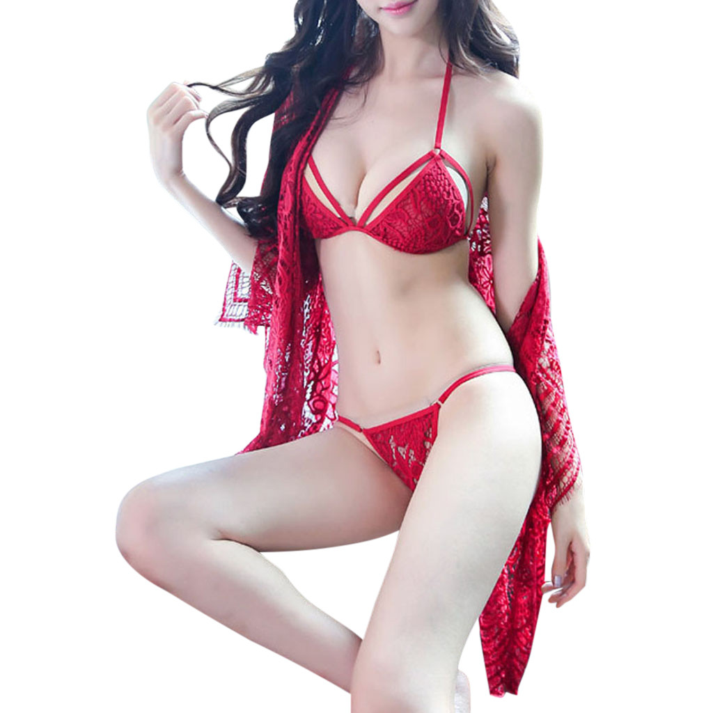 3Pcs Sexy Lingerie Sets Women Erotic Robe Bra Briefs Set Sexy Underwear Temptation Babydoll Lenceria Sex Costumes Porn Langerie