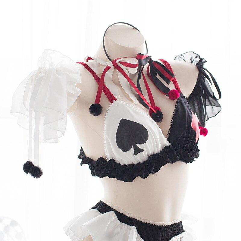 Сексуальный Бандаж, нижнее бельё, набор, костюмы на Хэллоуин, клоуны, покер, нижнее белье, милая Лолита, аниме, бюстгальтер, нижнее белье для девочек, костюмы для косплея дьявола