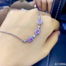 KJJEAXCMY fine jewelry 925 sterling silver inlaid natural pink sapphire bracelet luxury female bracelet support testing luxurious natural sri lanka sapphire bracelet 2 ct natural blue sapphire gemstone bracelet solid 925 sterling silver bracelet