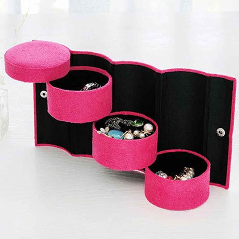 Cylinder 3-layer Jewelry Storage Box Rotary Makeup Organizer Display Case