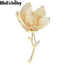 Wuli&baby Luxury Czech Rhinestone Lotus Flower Brooches Women Top Quality Weddings Banquet Brooch Pins New Year Gifts