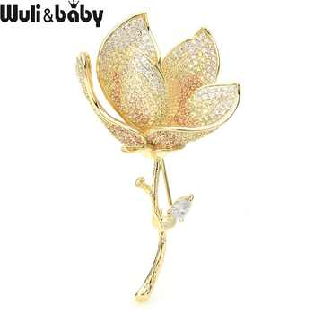 Wuli&baby Luxury Czech Rhinestone Lotus Flower Brooches Women Top Quality Weddings Banquet Brooch Pins New Year Gifts - DISCOUNT ITEM  25% OFF All Category
