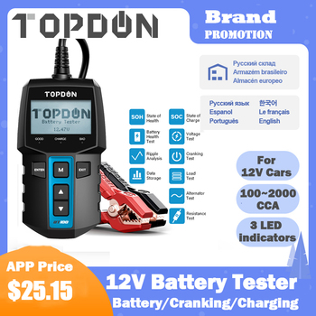 TOPDON BT100 Car Battery Tester 12V 100-2000 CCA  Digital Auto Battery Analyzer for Car Truck Motorcycle Cranking Charging Test digital 12v car battery tester vehicle car lcd battery test analyzer auto system analyzer voltage ohm cca test diagnostic tools