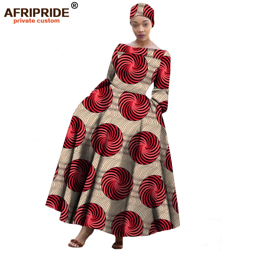 2019 AFRIPRIDE african maxi dress for women long-sleeves ankle-length party long dress plus size with a small headscarf A722559