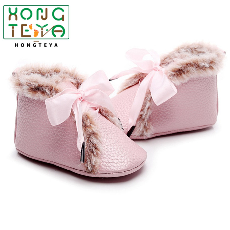 2020 Baby Boots Winter Anti-slip Velvet Warm First Walkers Newborn Girls Boys Soft Soled Booties Toddler Bowknot Lace-up Shoes