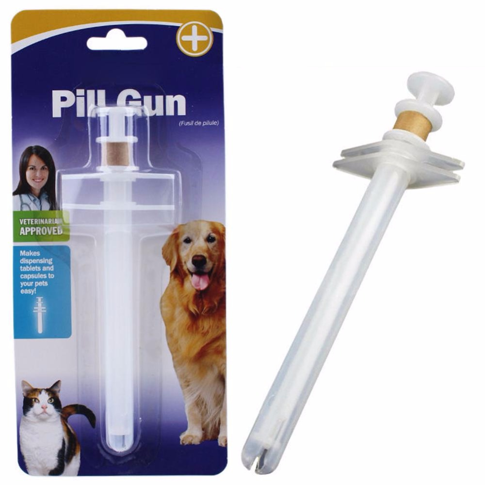 1 * 15cm Dog Cat Capsule Tablet Pill Pets Piller Gun Push Doser Soft Tip Syringe Pets Feed Tool Supplies