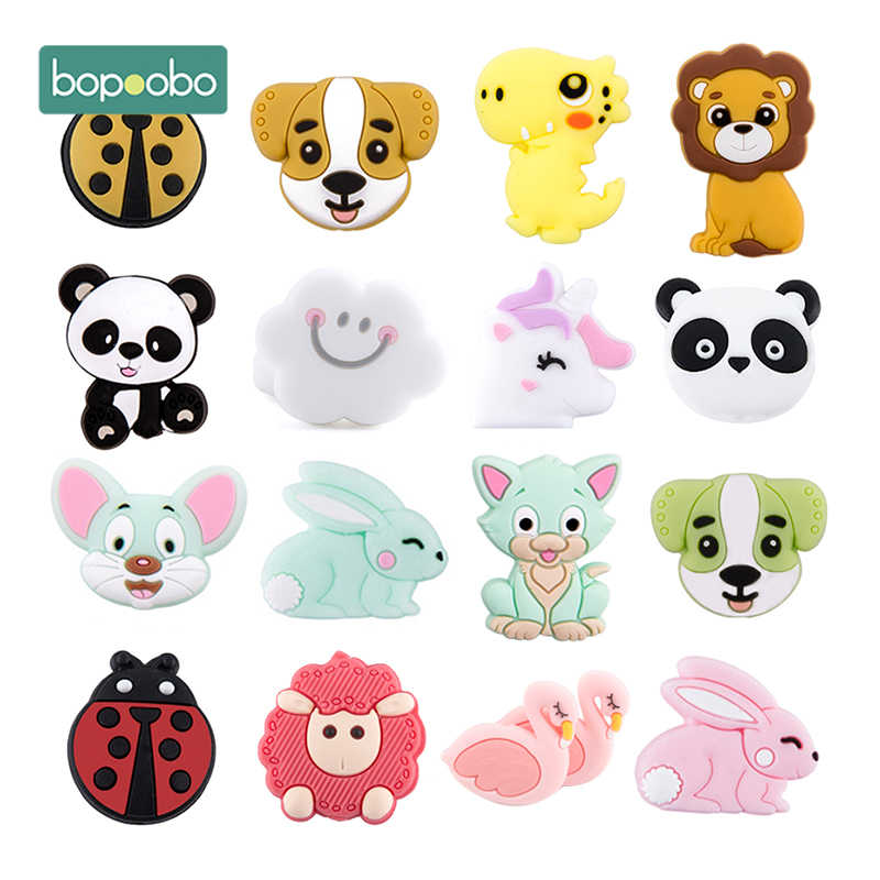 5pc Silicone Animal Beads BPA Free Baby Teething Beads DIY Toy For Pacifier Clips New Born Silicone Rodent Tiny Rod Baby Teether