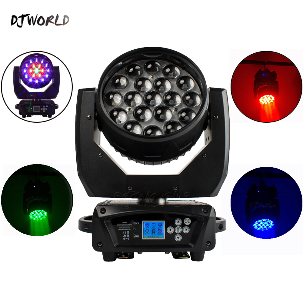 DJworld LED Beam+Wash 19x15W RGBW Zoom Lighting Moving Head Light Stage Light For DJ  Disco Light Home Entertainment Party Bar