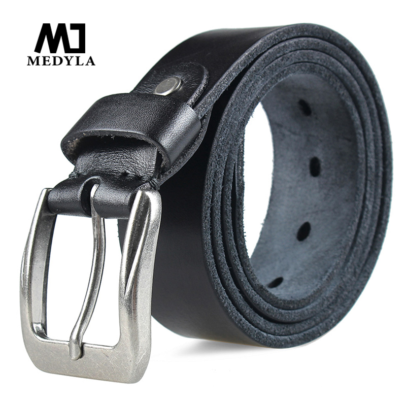 MEDYLA Fashion Men's Belt Top Natural Genuine Leather Sturdy Buckle Men Vintage Belt Suitable For Jeans Casual Pants