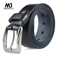 Medylaファッション男性のベルトトップナチュラル本革頑丈なバックル男性ヴィンテージための適切なジーンズカジュアルパンツ