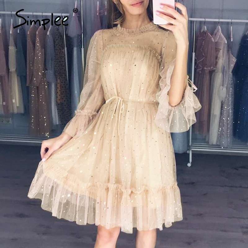 Simplee Sexy Hollow Out Party Dress Star Sequin Ruffled Sash Loose Women Dress Streetwear Night Club Fashion Summer Dress 2020