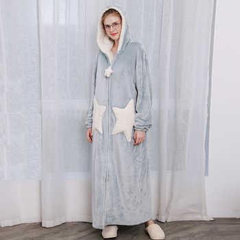 Men Winter Plus Size Long Cozy Flannel Bathrobe Star Thick Warm Coral Plush Zipper Bath Robe Night Dressing Gown Women Sleepwear