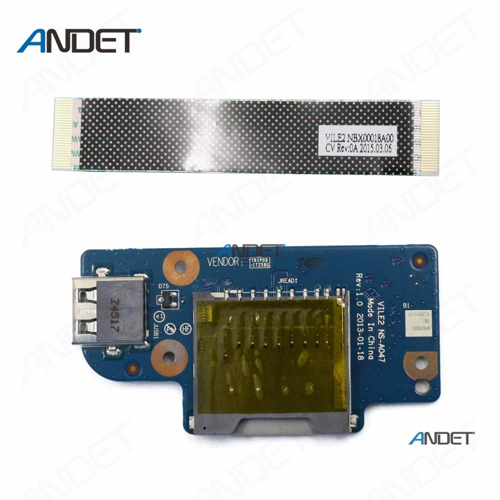 """Lenovo ThinkPad E560 15.6/"""" DC-IN Jack Power Button USB Board W//Cables NS-A561"""